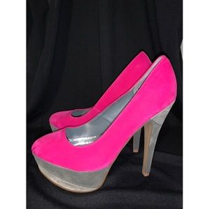 Qupid Pink and Grey Shoe